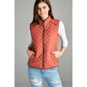 Jackets & Blazers - Rusted Pink Basic Vest with Suede Piping Detail